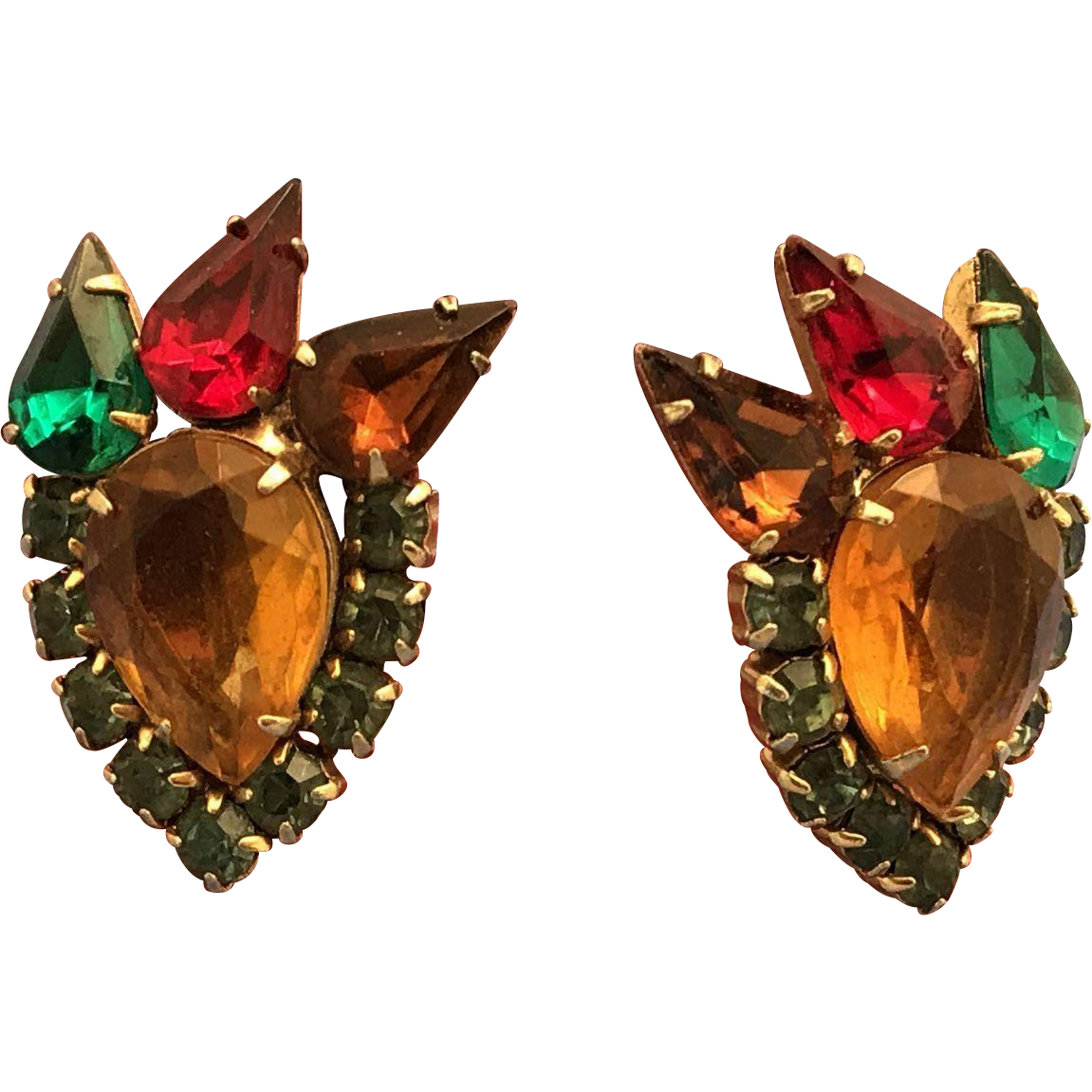 Vintage Earrings Designer Inspired Multi Color Stones