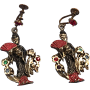 Japanese Geisha Figural Dangle Screw Back Earrings Jewelry