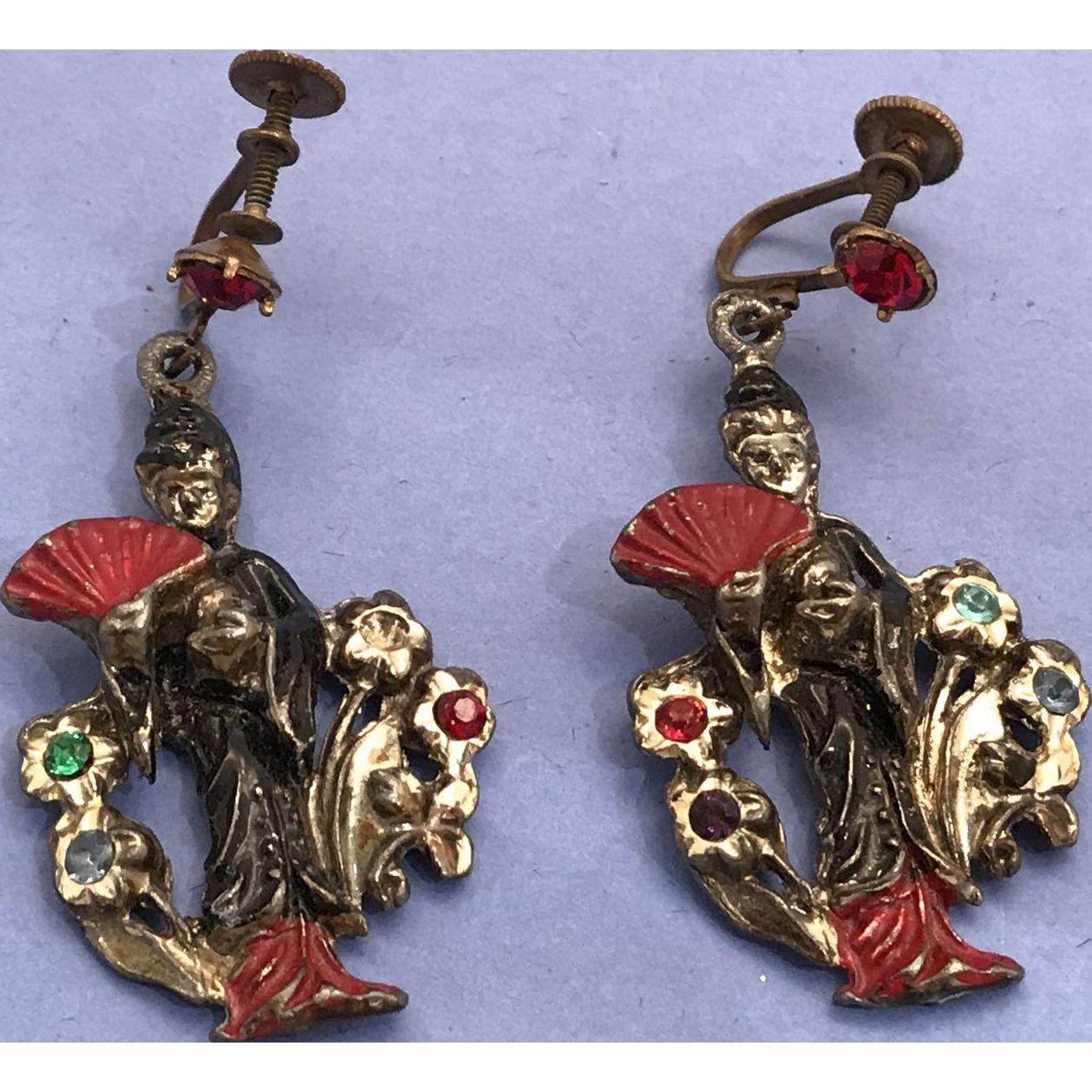 Japanese Geisha Figural Dangle Screw Back Earrings Jewelry