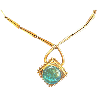 Deco Necklace Turquoise Blue Stone Vintage Brass