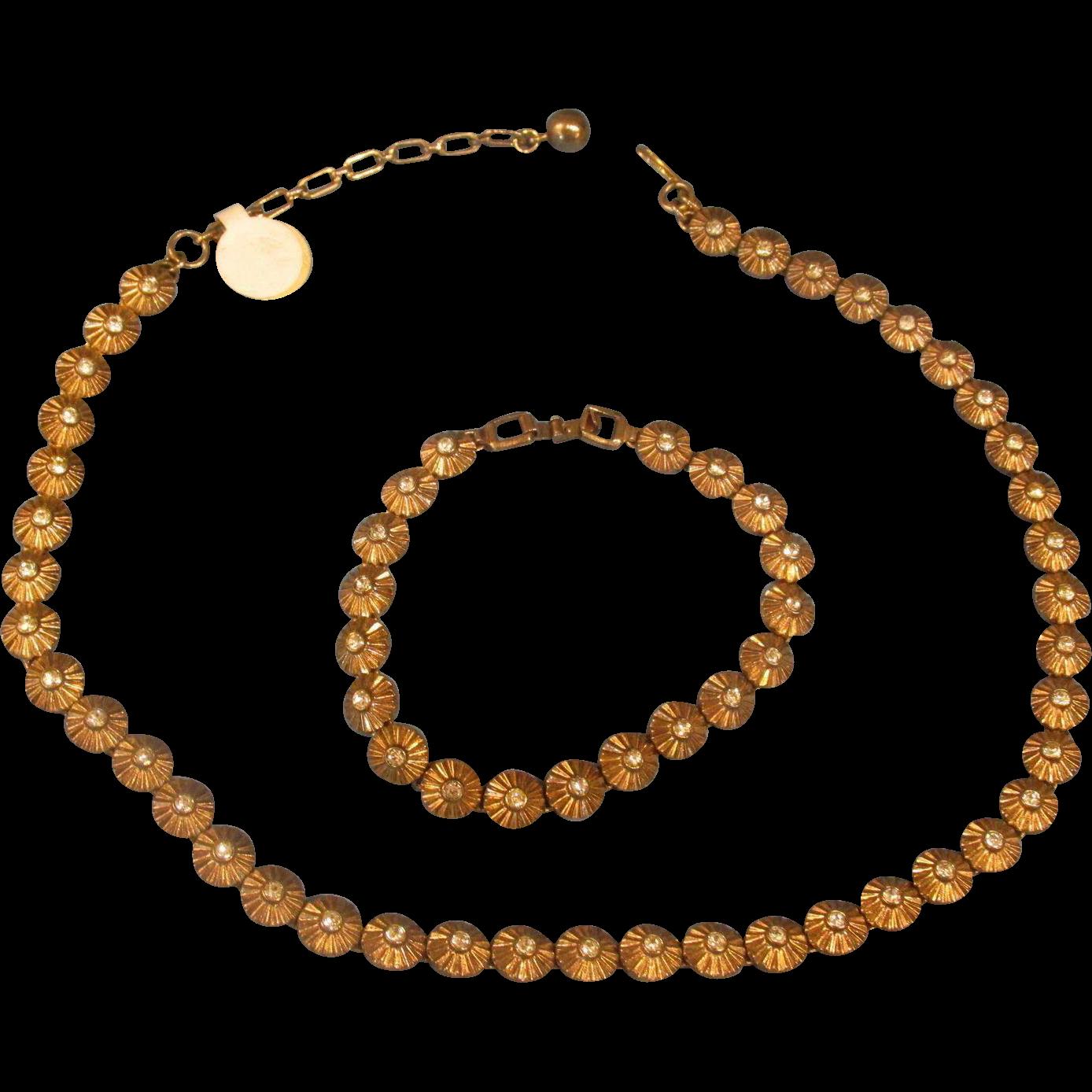 Trifari Necklace & Tennis Bracelet Clear Crystals