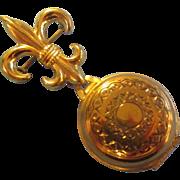 Pendant Brooch Fleur De Leis Double Picture Pin