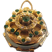 Coro Mini Photo Holder Brooch Pin Stones Faux Pearls Locket