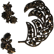 Brooch & Earring Set in Black Jet Stones Vintage