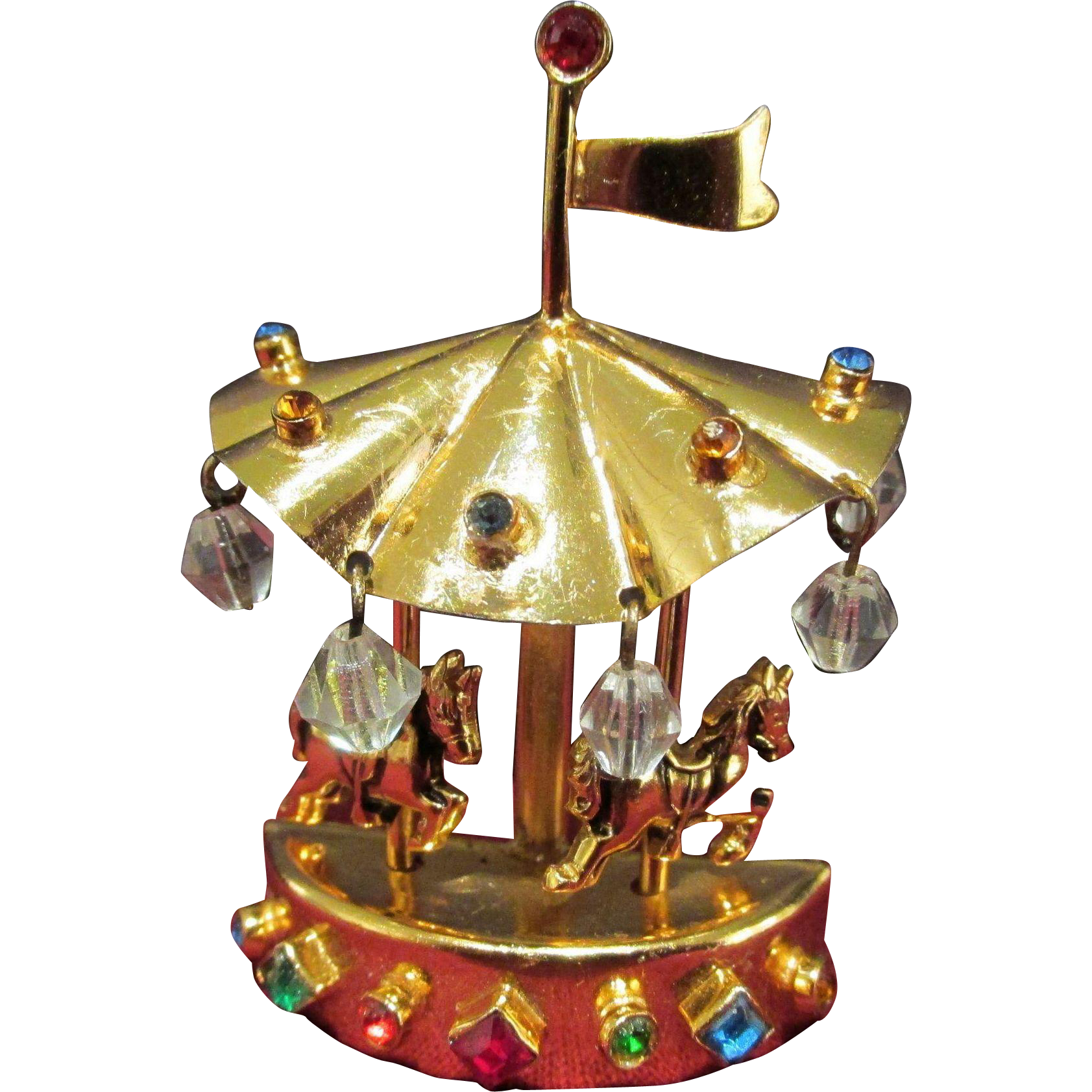 Coro Carousel Brooch Pin Multi Color and Clear Stones Vintage