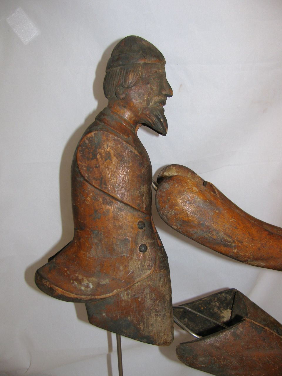 Antique wooden carved weather vane jockey mold from