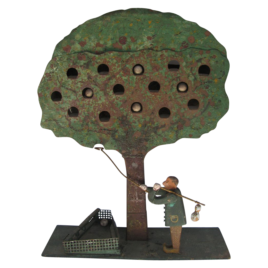 Antique Folk Art Apple Tree Shooting Target Finish Line