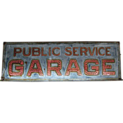 Antique Punched Metal Lighted Garage Sign