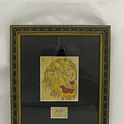 Vintage Folk Art Americana Original Tattoo Flash Art Smiling Lion