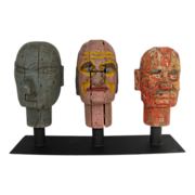 Antique Carnival Carved Wooden Heads Game