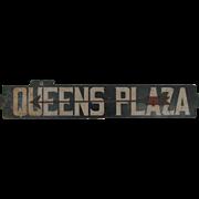 Antique Subway Train Queens Plaza New York Metal Destination Sign