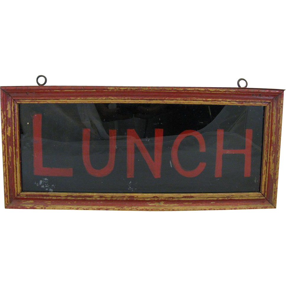 Vintage Lunch Sign Reverse Glass Tin and Wood Box from ...