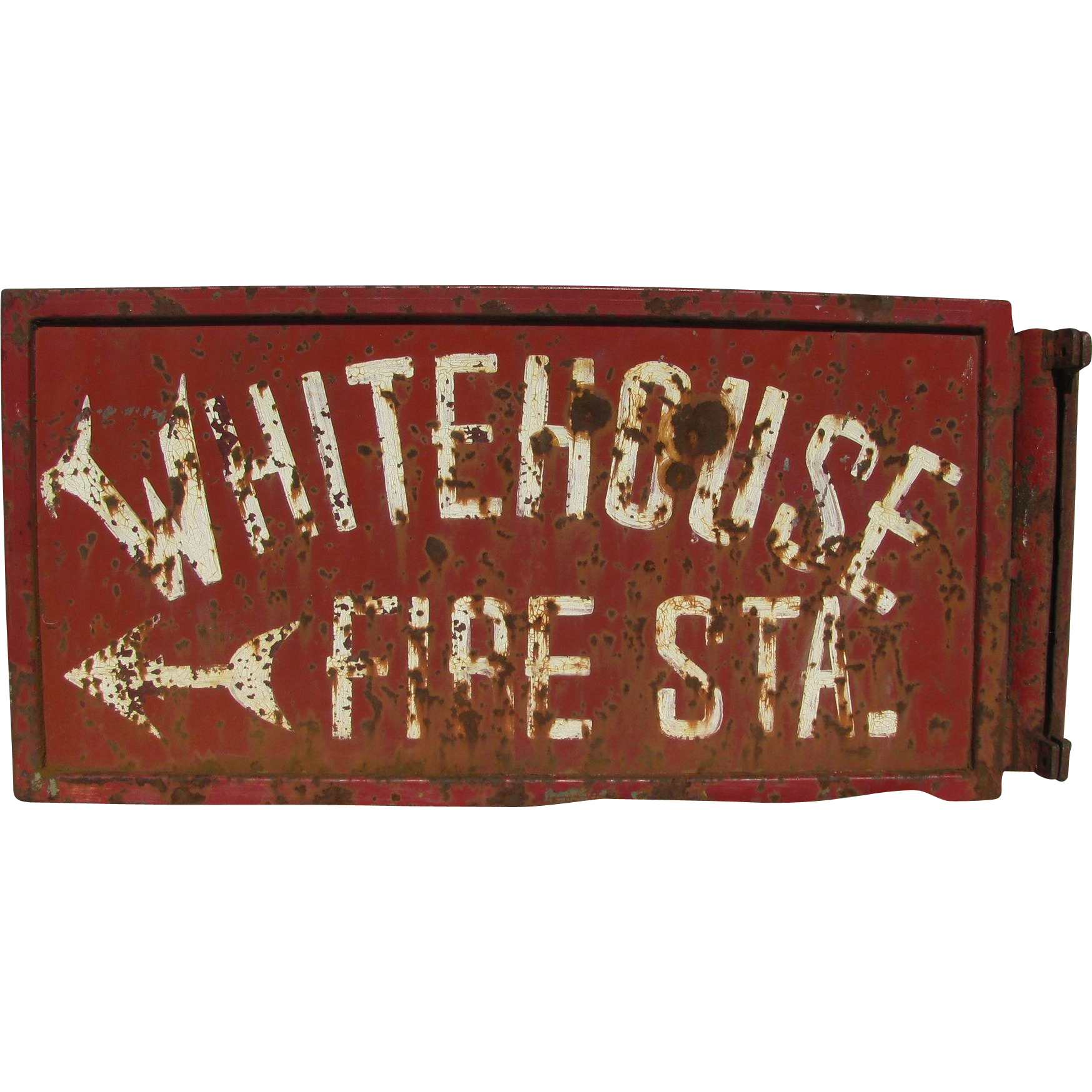 vintage whitehouse fire station iron pole sign sold on