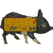 Vintage Painted Pig Pit Cooked Bar B Que Sign
