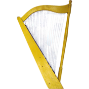 Vintage Painted Wooden Harp Trade Sign