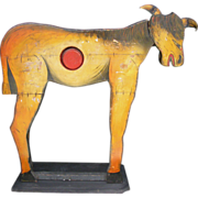 Antique Carnival Ball Toss Game Wooden Painted Donkey