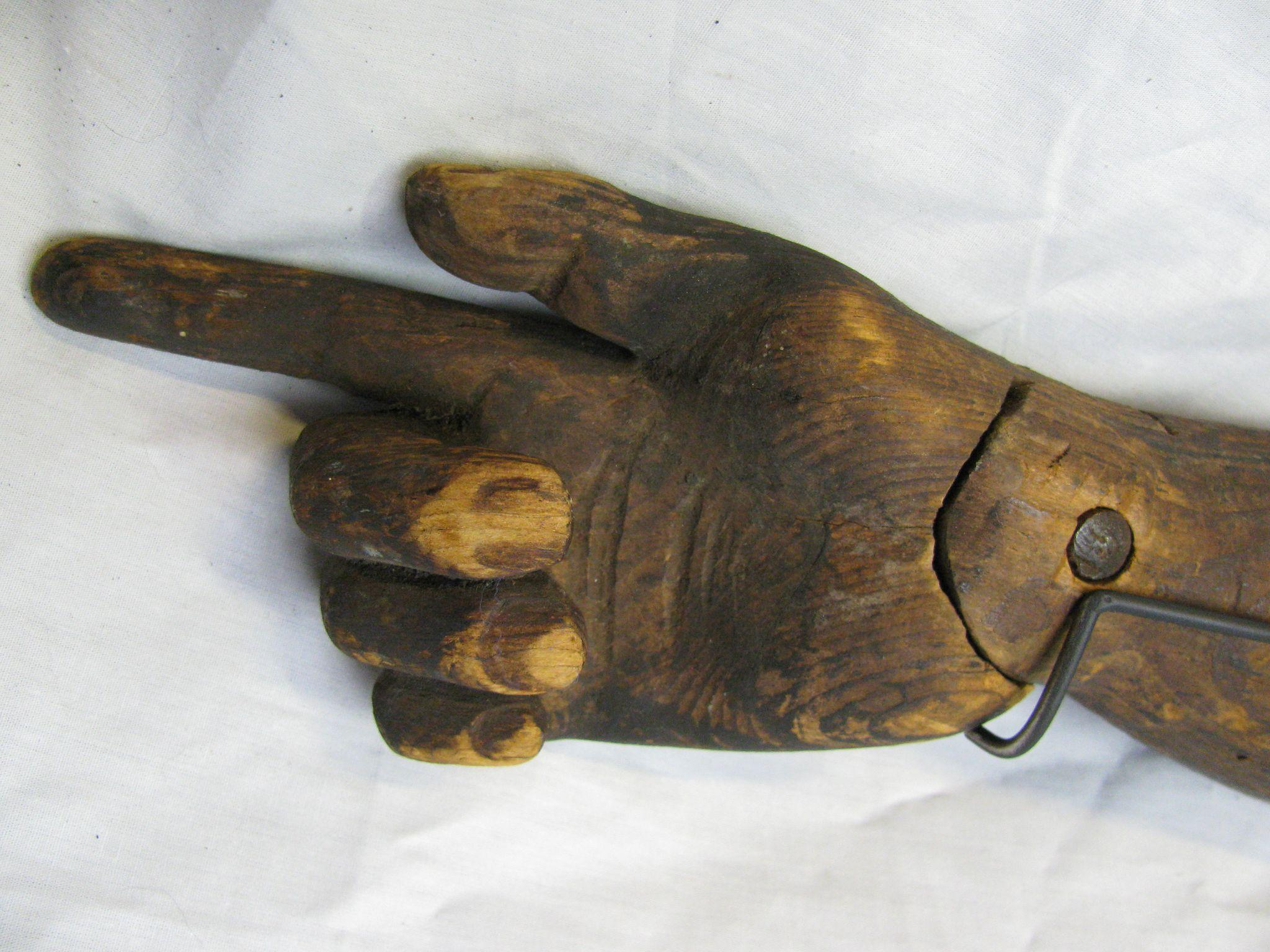Wood Arm Art ~ Antique folk art carved wooden articulating arm with