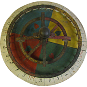 Antique Carnival Game Wheel Folk Art Painted Wood and Iron