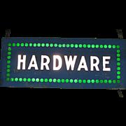 Vintage Lighted Hardware Trade Sign