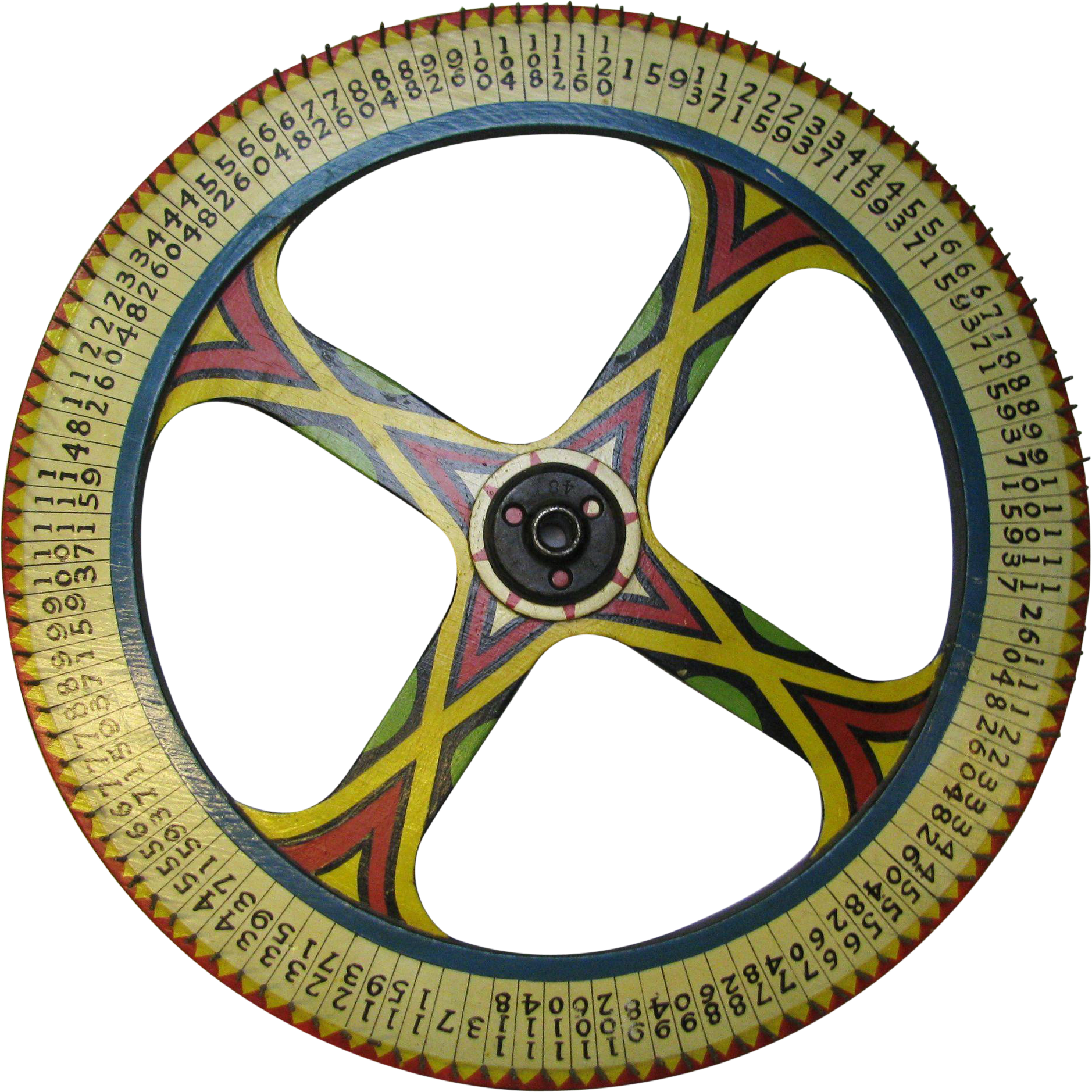 Vintage Painted Carnival Game Wheel of Chance Art Deco