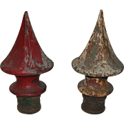 Antique Pair Cast Iron Finials