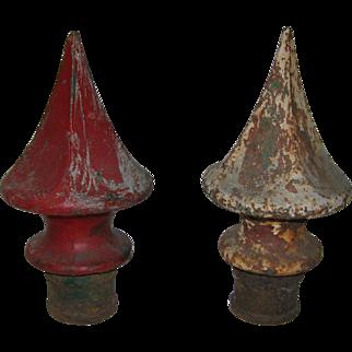 Antique Pair Cast Iron Finials