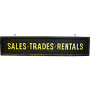 Painted Wooden Sales Trades Rentals Sign