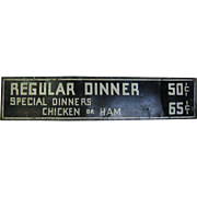 Vintage Tin Dinner Sign Kitchen Restaurant