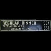 Vintage Tin Dinner Sign Kitchen Restaurant