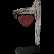 Antique Folk Art Iron Heart On Limb Roadside Sign