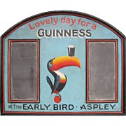 Vintage Early Bird Guinness Blackboard Pub Bar Sign Painted Wood