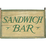 Vintage Painted Wooden Sandwich Bar Sign