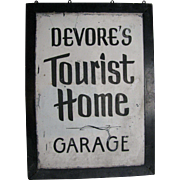 Vintage Painted Tin Tourist Home Sign Bedford PA