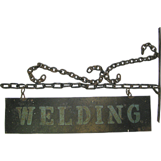 Vintage Tin and Iron Welding Trade Sign