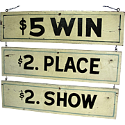 Vintage Race Betting Sign For Race Track Amusement Park Carnival
