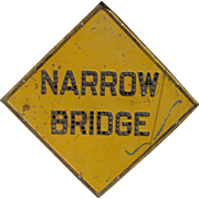 Vintage Reflector Caution Narrow Bridge Jeweled Sign