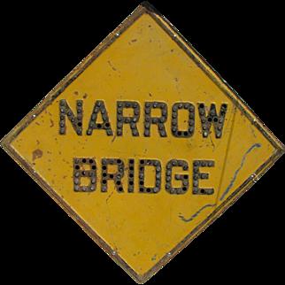 Vintage Reflector Caution Narrow Bridge Jeweled Sign