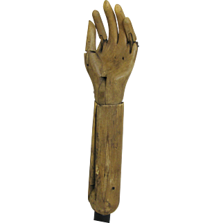Antique Wooden Child's Articulating Hand Mannequin Pose-able Folk Art