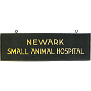 Vintage Sand Painted Wooden Animal Hospital Sign Newark