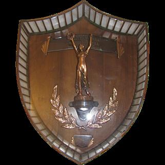 Vintage Art Deco Glass Trophy Presentation Plaque