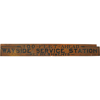 Antique Painted Wooden Wayside Service Sign