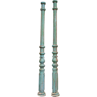 Antique Victorian Wooden Carved Painted Column Pair