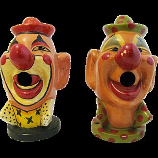 Vintage Pair Clown Head Carnival Water Balloon Game