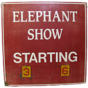 Vintage Elephant Show Circus Sign