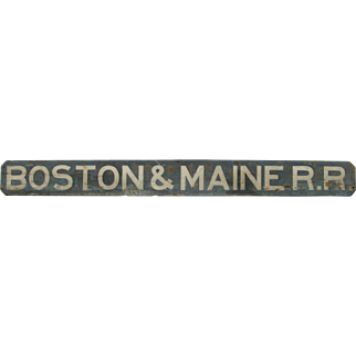 Antique Painted Wooden Boston Maine Railroad Sign