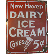 Vintage Porcelain New Haven Ice Cream Sign