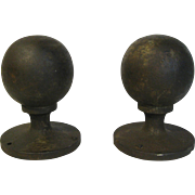 Antique Cast Iron Ball Finials Architectural Garden Folk Art