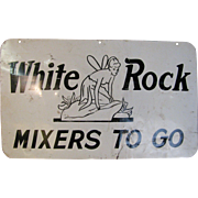 Vintage White Rock Mixers Painted Sheet Metal Sign Bar Restaurant