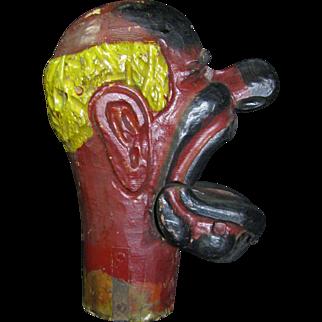 Antique Carnival Amusement Game Charlie's Hat Folk Art Carved Wooden Articulating Jaw