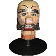 Antique Carnival Amusement Game Charlie's Hat Folk Art Carved Wooden Head